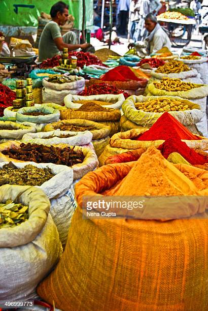 Various spices in a small town spice market of India.