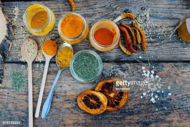 various spices on the table - garam masala stock photos and pictures