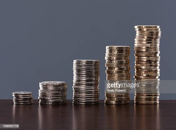 Various stacks of coins
