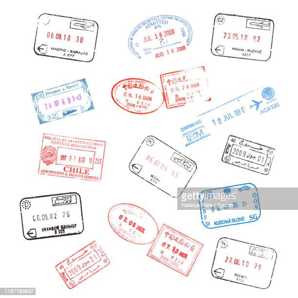 various stamps on white background - passeport photos et images de collection