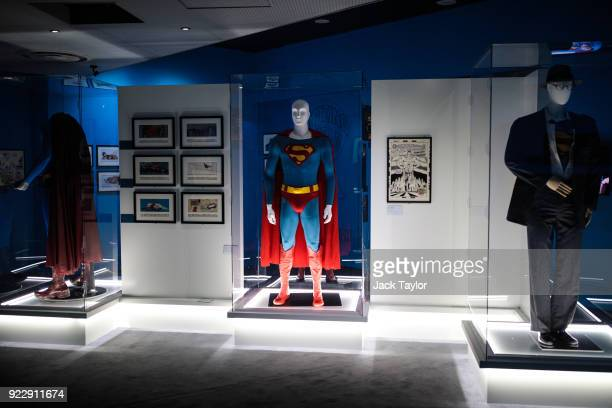 Various Superman costumes on display at the DC Comics Exhibition Dawn Of Super Heroes at the O2 Arena on February 22 2018 in London England The...