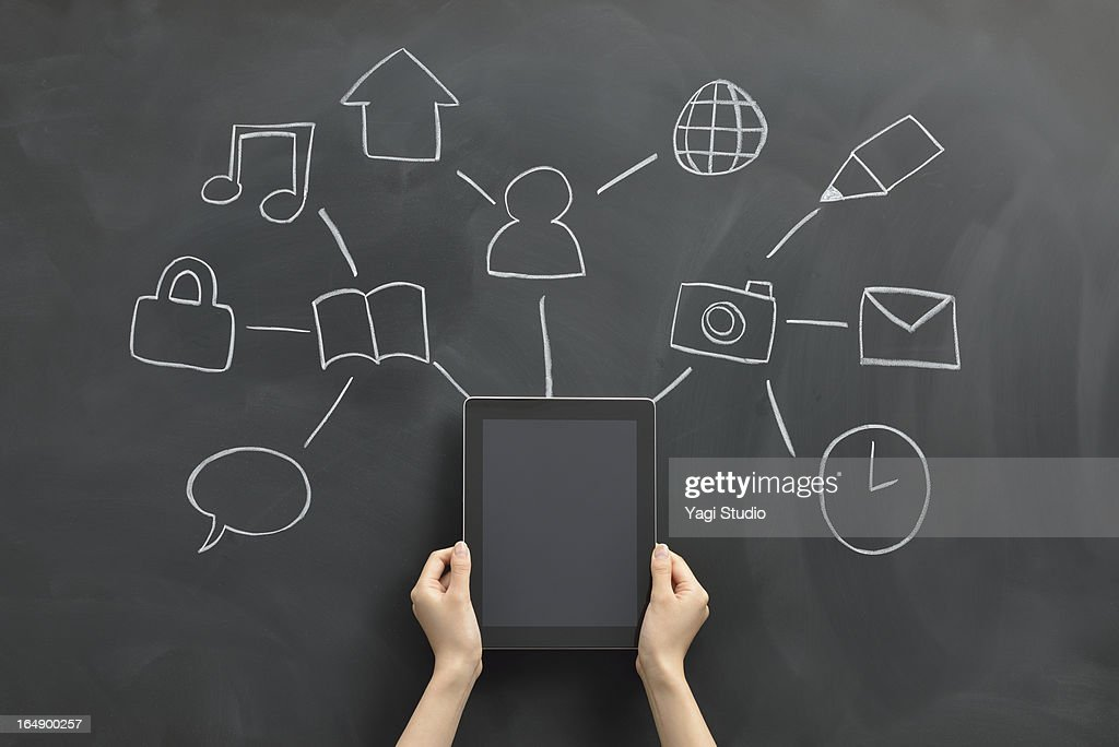 Various symbols and tablet devices : Stock Photo