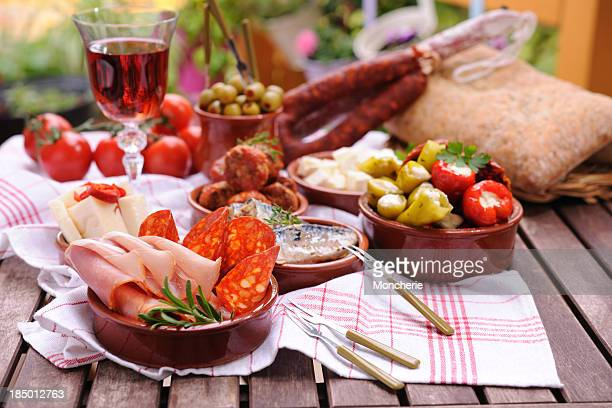 various tapas plates - tapas stock photos and pictures