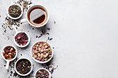 Various tea. Black, green and red tea