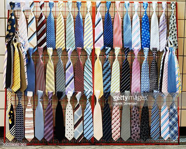 Various ties displayed on rack