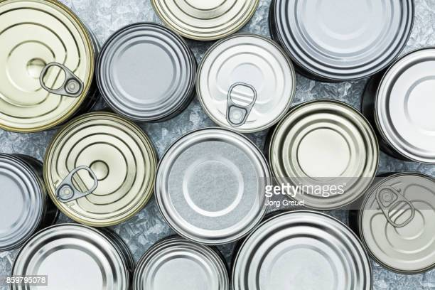 Various tin cans (top view)