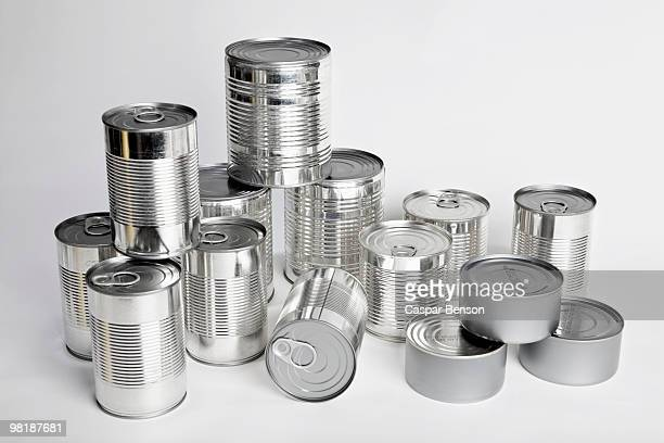 various tin cans without labels - canned food stock pictures, royalty-free photos & images