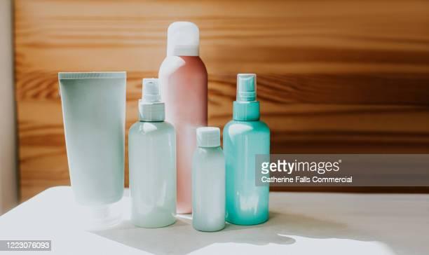 various toiletries - shampoo stockfoto's en -beelden