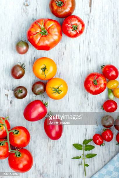 Various tomatoes on table