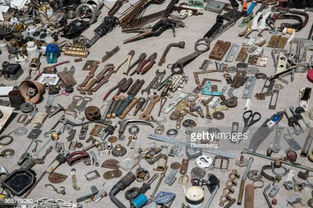 Various tools and components are displayed for sale at a stall of a market in Dushanbe Tajikistan on Sunday April 22 2018 Flung into independence...