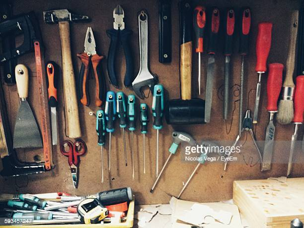 Various Tools Hanging On Wall