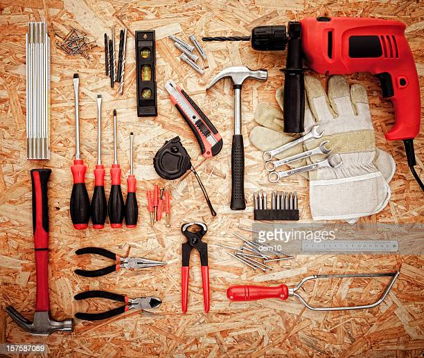 Various tools on plywood