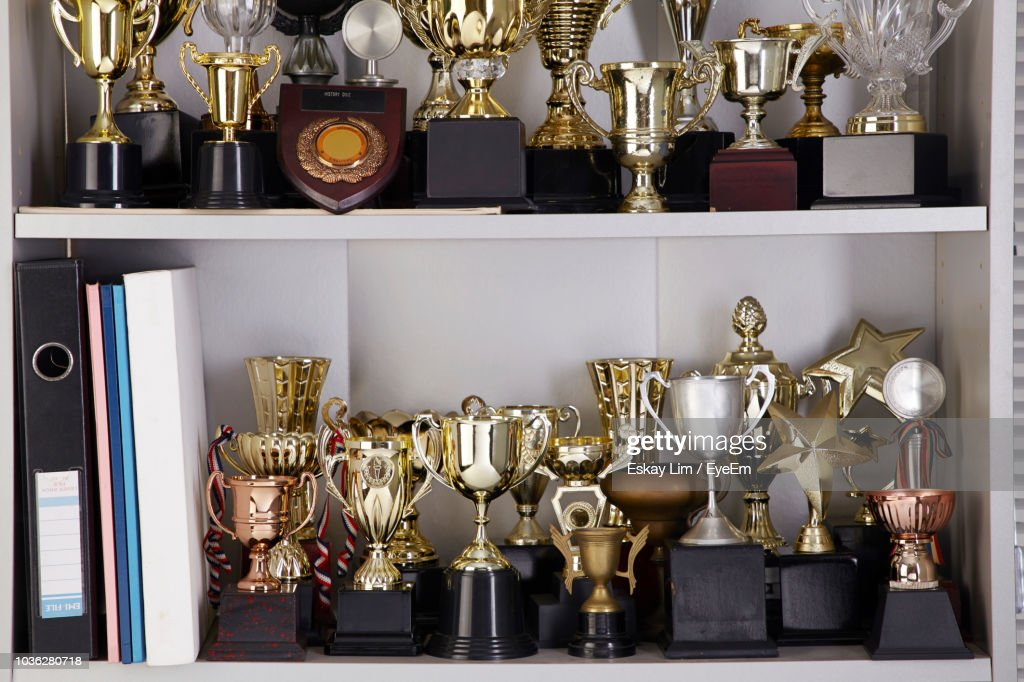 Various Trophy In Shelf At Home : Stock Photo