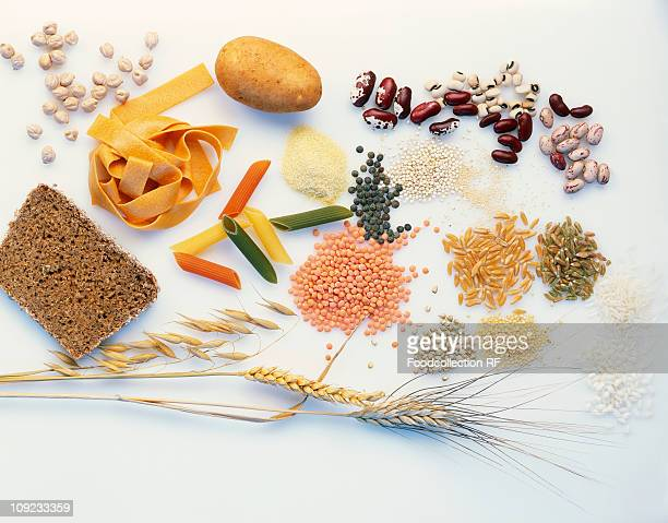 Various type of foods item on white background