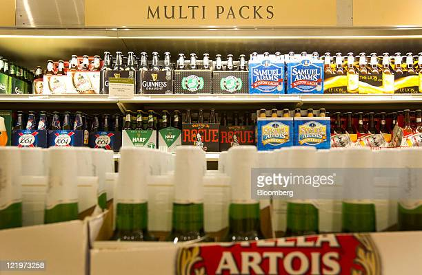 Various types of beer are displayed for sale at the Liquor Control Board of Ontario flagship store in Toronto Ontario Canada on Monday Aug 22 2011...
