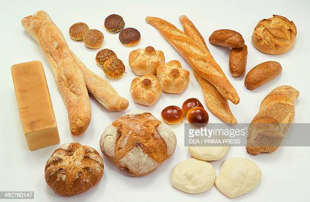 Various types of bread From top to bottom and from left to right square sliced bread ciabatta sesame seed bread roll poppy seed bread roll caraway...