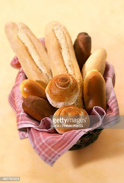 Various types of bread Sfilatini sweet bread and chiocciole buns