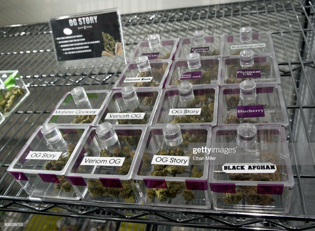 Various types of cannabis are displayed at Essence Vegas Cannabis Dispensary before the midnight start of recreational marijuana sales on June 30, 2017 in Las Vegas, Nevada. On July 1, Nevada joins seven other states allowing recreational marijuana use and becomes the first of four states that voted to legalize recreational sales in NovemberÕs election to allow dispensaries to sell cannabis for recreational use to anyone over 21.