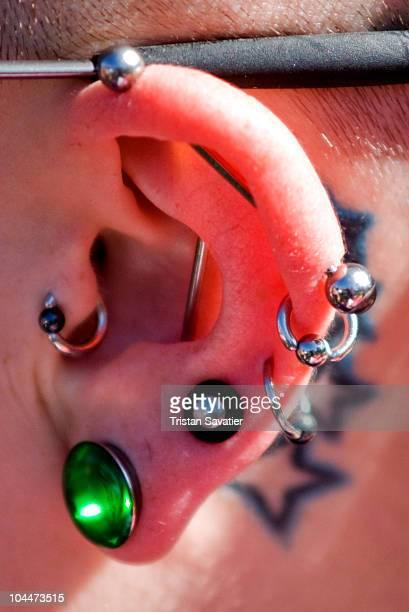 Various types of ear piercing