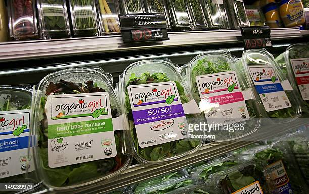 Various types of lettuce are displayed for sale at a supermarket in New York US on Wednesday July 25 2012 US consumers may pay 3 percent to 4 percent...
