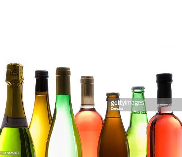 Various Types of Wine bottles on White Background