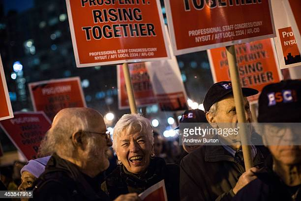 Various unions social causes and organizations attend a rally calling on greater social equality organized by nonunionized fast food workers...