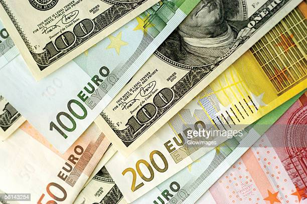 'Various United States and Euro paper currency, close-up'
