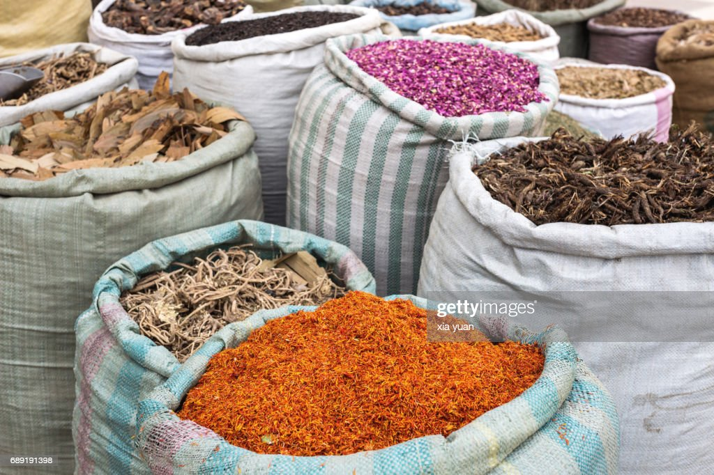 Various Uygur medical herbs for sale : Stock Photo