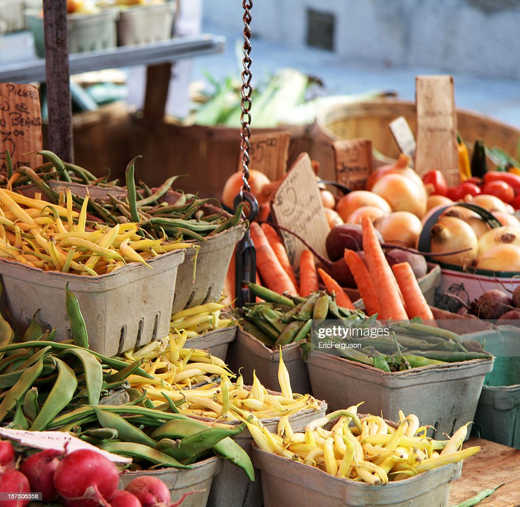 Various vegetables at a market stall : Stock Photo