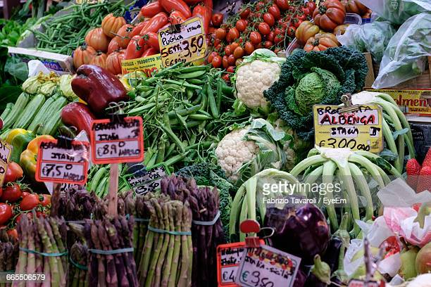 Various Vegetables For Sale In Market Stall