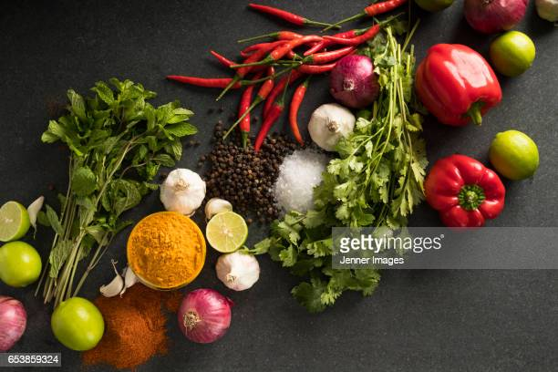 Various Vegetables, Herbs And Spices.