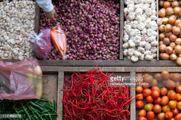 Various Vegetables In Market Stall For Sale