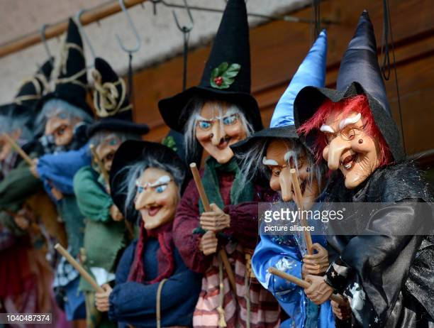 Various witches hang in a souvenir shop on Hexentanzplatz in Thale Germany 15 September 2016 Inside is an upside down interior PhotoJens Kalaene/dpa...