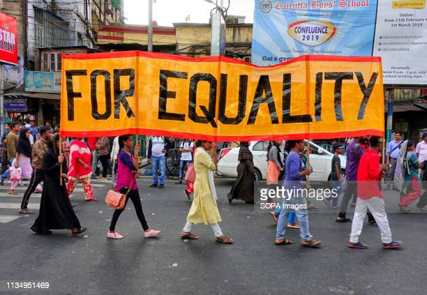 Various Woman Trans person's activist seen carrying a big banner with a demand to create Equality in the society during the Walk for Equality Freedom...