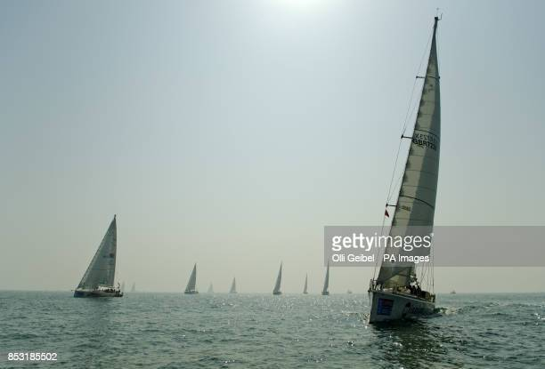 Various yachts of the race are seen under sail as they begin the 10th race of the Clipper 201314 Round the World Yacht Race