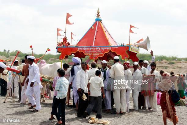 Varkari carried padukas to Pandharpur town on occasion of Ashadhi Ekadashi, district Solapur, state Maharashtra, India