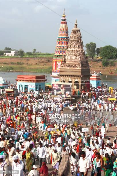 Varkari gathered at Pundlik temple on occasion of Ashadhi Ekadashi at Pandharpur town, Solapur, state Maharashtra