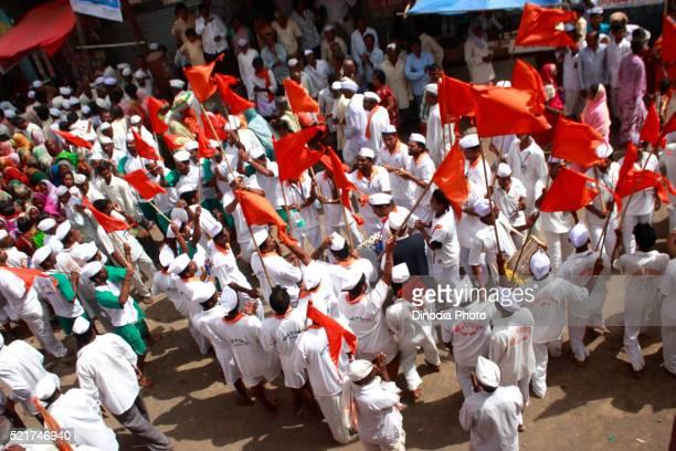 Varkari in Pandharpur on occasion of Ashadhi Ekadashi, district Solapur, state Maharashtra, India