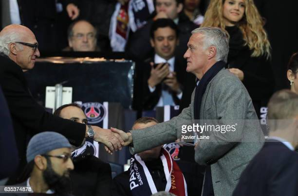 Varlos Bianchi and Didier Deschamps attend during the UEFA Champions League Round of 16 first leg match between Paris SaintGermain and FC Barcelona...