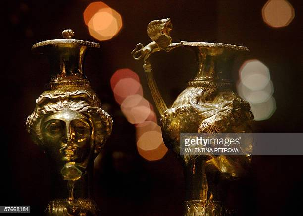 TO GO WITH AFP STORY Rhytons part of Thracian Panagyurishte Treasure dated 4th century BC possibly belonging to the Thracian king Sewth III is on...