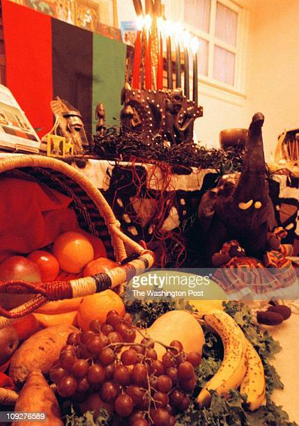 Varnum St NW DC Pictured the Kwanzaa display in the Thomas' living room features a wide array of symbolic items such as the basket of fruit and the...