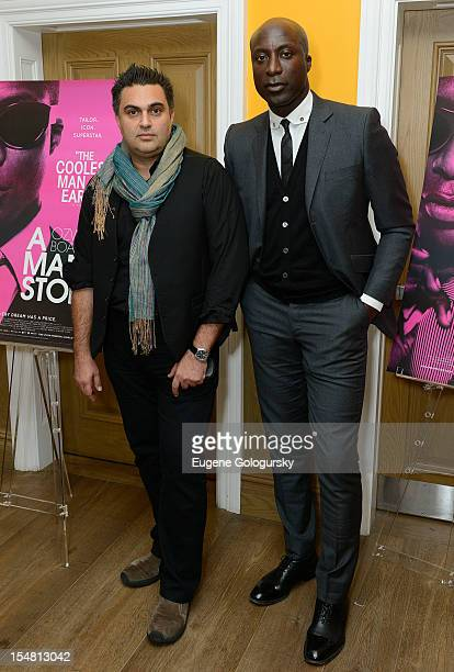 """Varon Bonicos and Ozwald Boateng attend """"A Man's Story"""" New York Premiere at Crosby Street Hotel on October 26, 2012 in New York City."""
