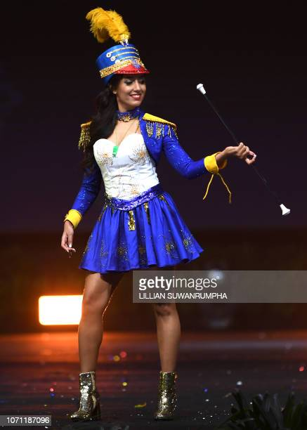 Varsha Ragoobarsing Miss Mauritius 2018 poses on stage during the 2018 Miss Universe national costume presentation in Chonburi province on December...