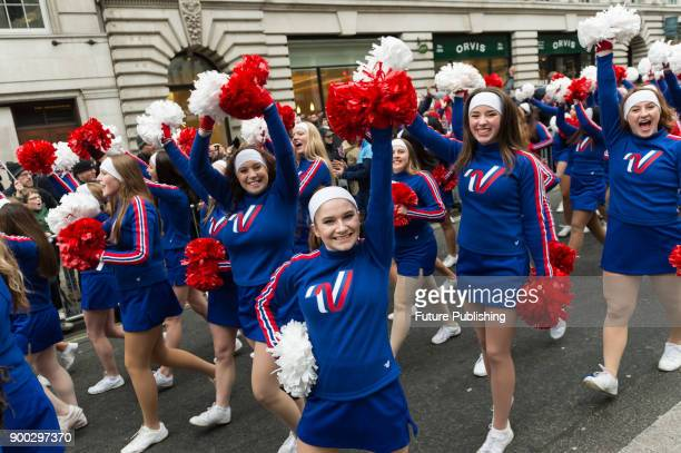Varsity All Americans Universal Cheerleader Association performs during London's New Year's Day Parade 2018 Around 500000 spectators gather along the...