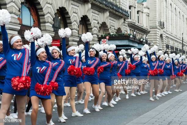 Varsity Spirit AllAmerican Cheerleaders perform during London's New Year's Day Parade 2019 Around 500000 spectators gather along the parade route to...