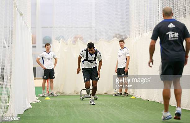 Varun Chopra of England warms up during the ECB England Performance Programme Training session at Loughborough University on November 8, 2012 in...
