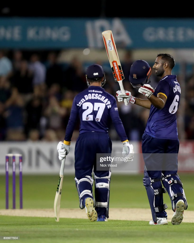 Varun Chopra of Essex celebrates scoring a century of runs during the Essex v Kent - NatWest T20 Blast (G) cricket match at the Cloudfm County Ground on August 17, 2017 in Chelmsford, England.