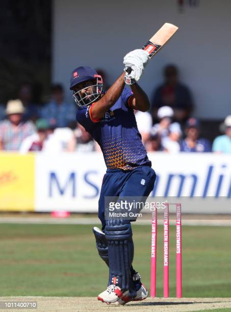Varun Chopra of Essex plays a shot during the Vitality Blast T20 match between Essex Eagles and Surrey at The Cloud FM Cricket Ground on August 5...