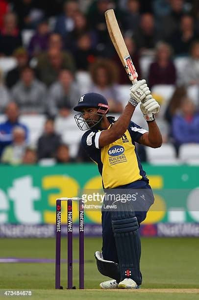 Varun Chopra of Warwickshire hits the ball towards the boundary during the NatWest T20 Blast match between Nottinghamshire and Warwickshire at Trent...