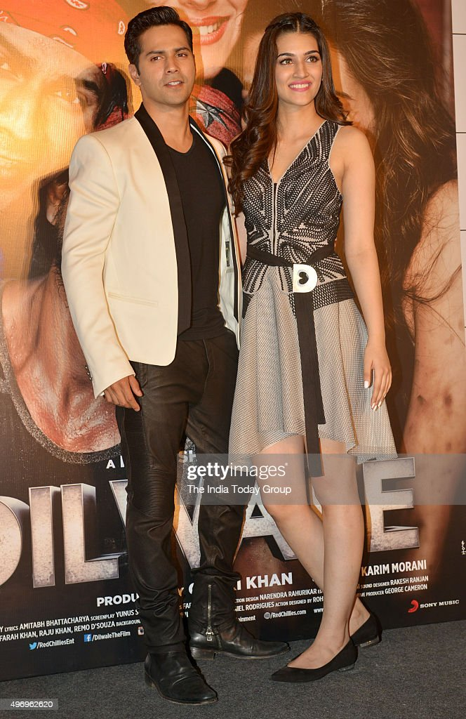 Varun Dhawan and Kriti Sanon at the trailer launch of their movie DILWALE in Mumbai